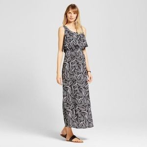 Palm Print Challis Flounce Maxi Dress
